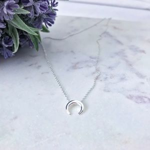 iuaccessories Jewelry - Sideways crescent moon sterling silver necklace